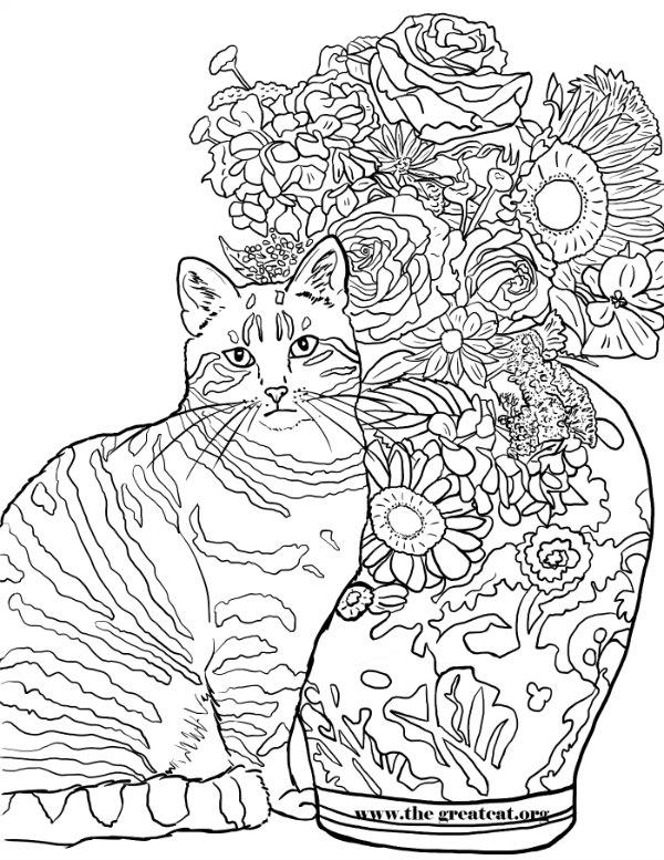 Cats And Flowers Coloring Book For Cat Lovers LA Vocelle
