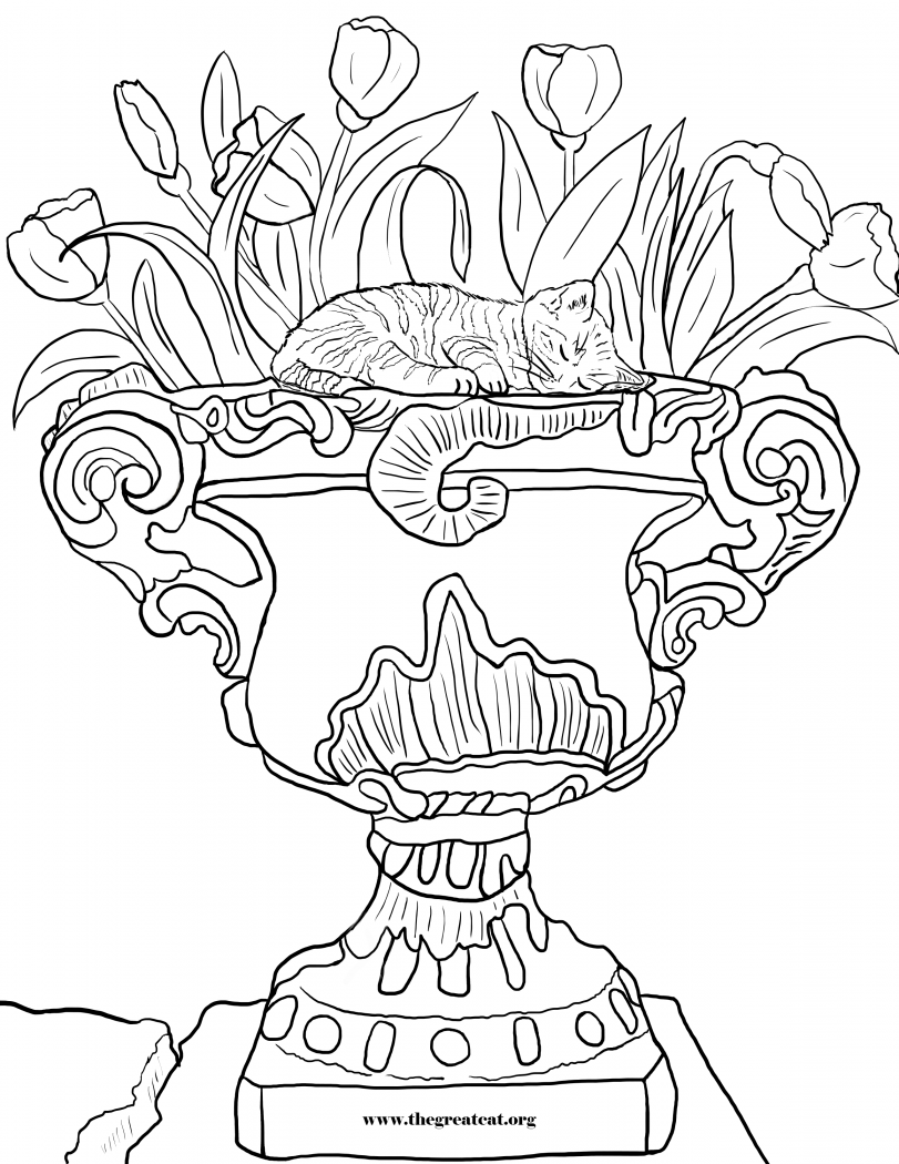 Cats And Flowers Coloring Book LA Vocelle