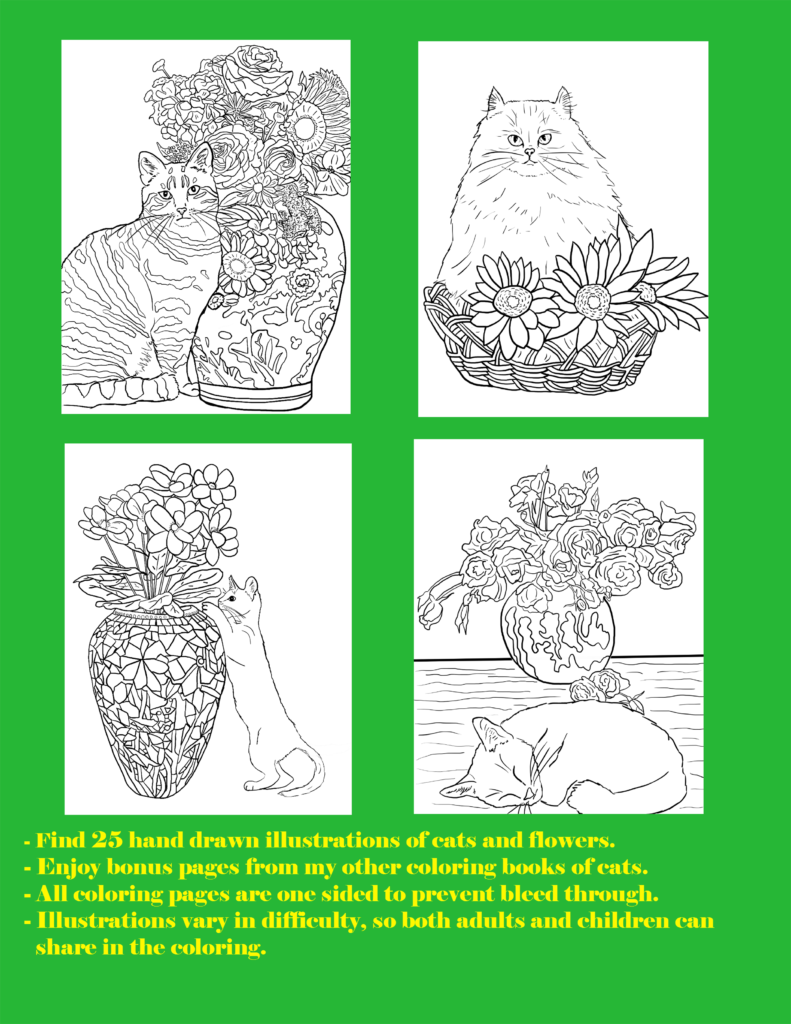 Cats And Flowers Coloring Book For Cat Lovers Books