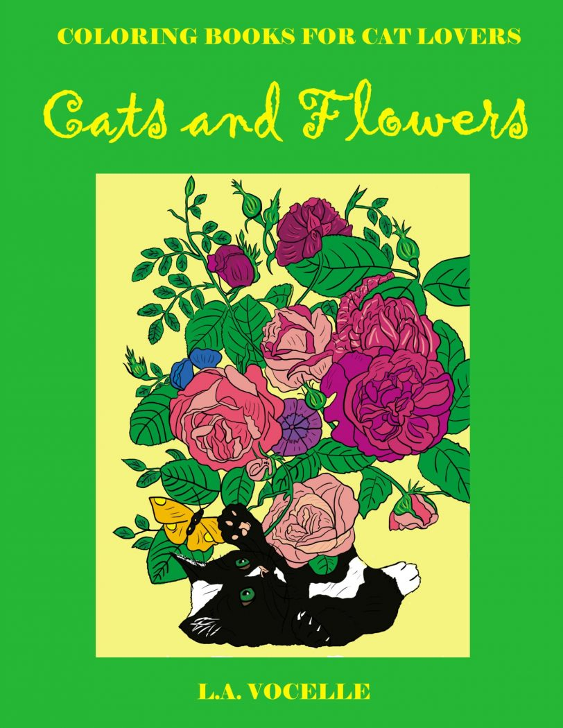 cat coloring book, coloring book for adults, cats, coloring book, Cats and Flowers Coloring Book