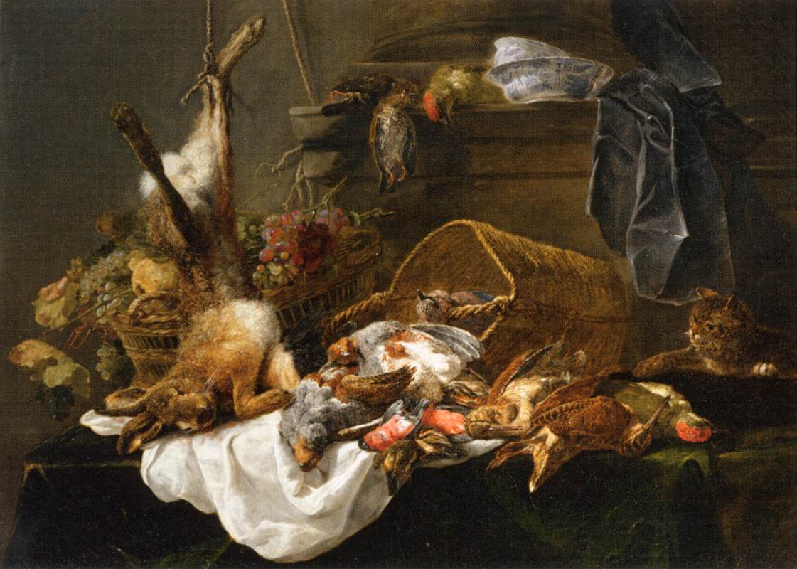 Jan Fyt Venison and Basket of Grapes Watched by a Cat 1650s