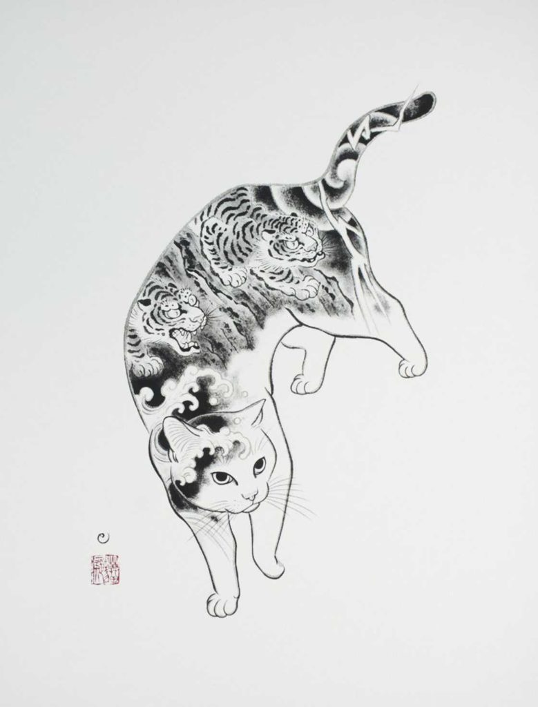 Asian cat sketches with