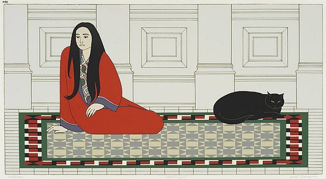 Soliloquy serigraph of woman on rug with cat, 1972 Will Barnet