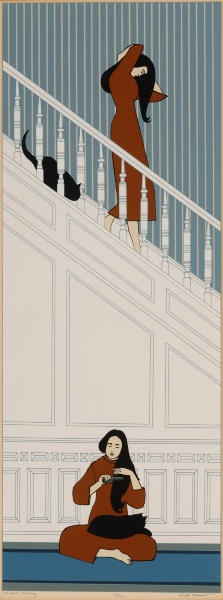 The White Staircase seriograph of woman and black cat 1974, Will Barnet