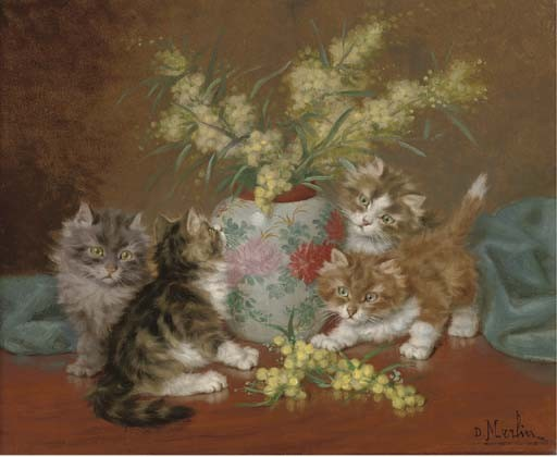 Kittens playing with flowers Daniel Merlin private collection