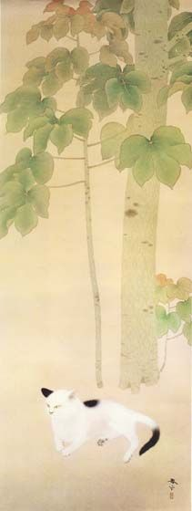 Cat under an Odong Tree, Shunso Hishida