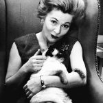 Joan Fontaine and cat, famous cat lovers