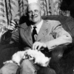 PG Wodehouse with his cat