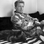 Paul Bowles and cat
