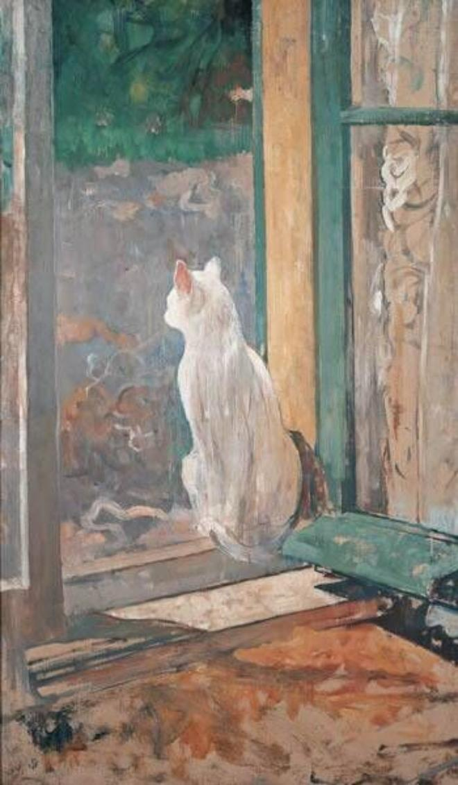 White Cat at an Open Window, Jacobus (Jac) van Looy