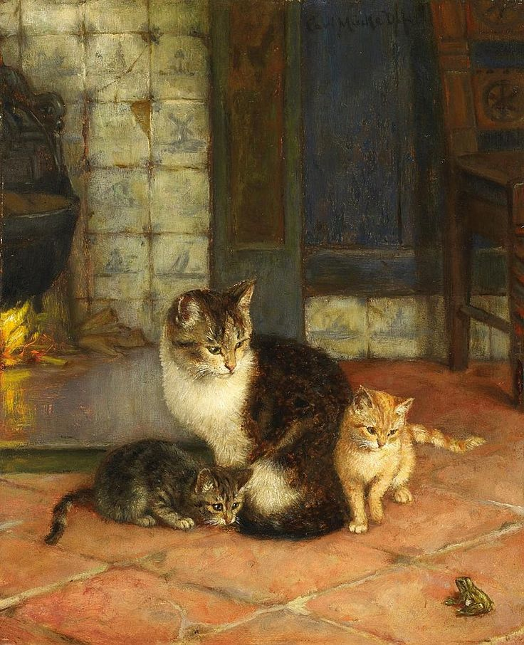 Karl Emil Mucke, Mother Cat and Kittens and Frog