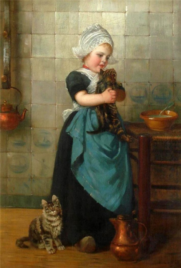Karl Emil Mucke, Girl with Cat in the Kitchen