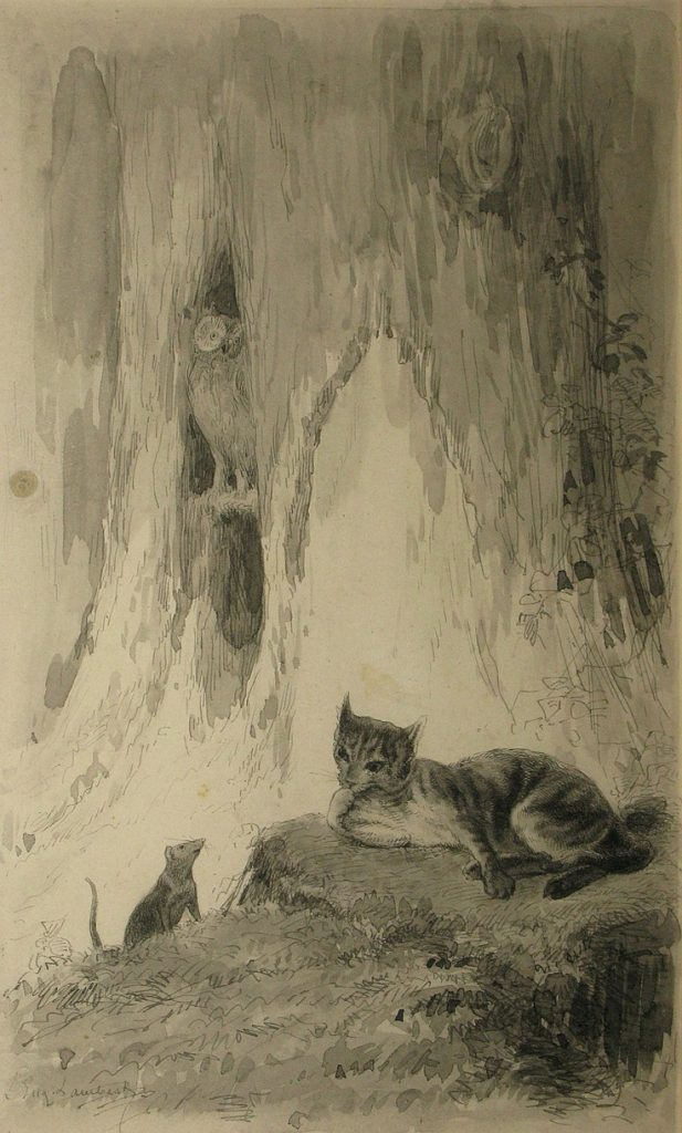 Eugène Louis Lambert Mouses and cat in the forest - Souris et chat dans la forêt
