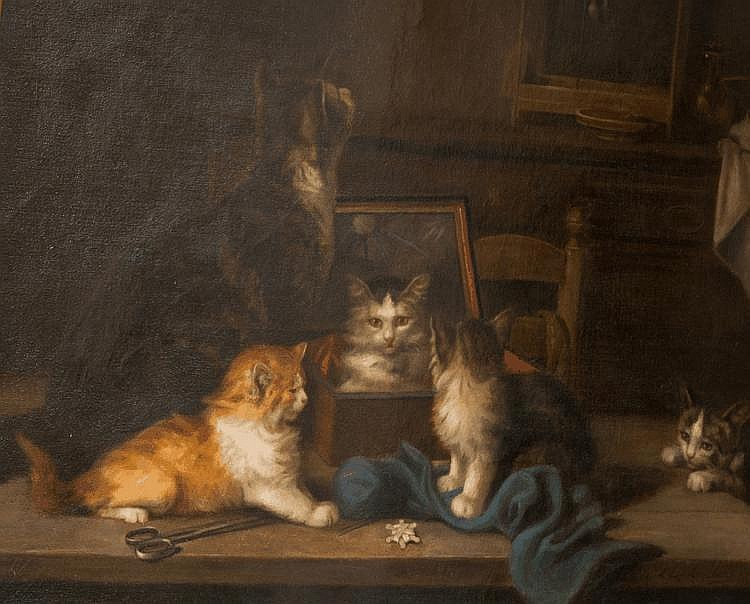 The Jewelry Box, Louis Eugene Lambert, cats in art