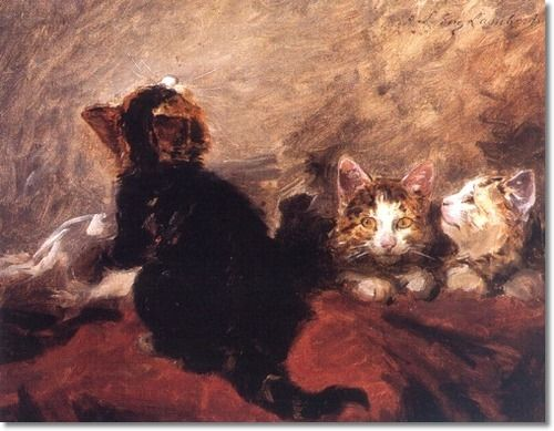 Cat and Kittens, Louis Eugene Lambert