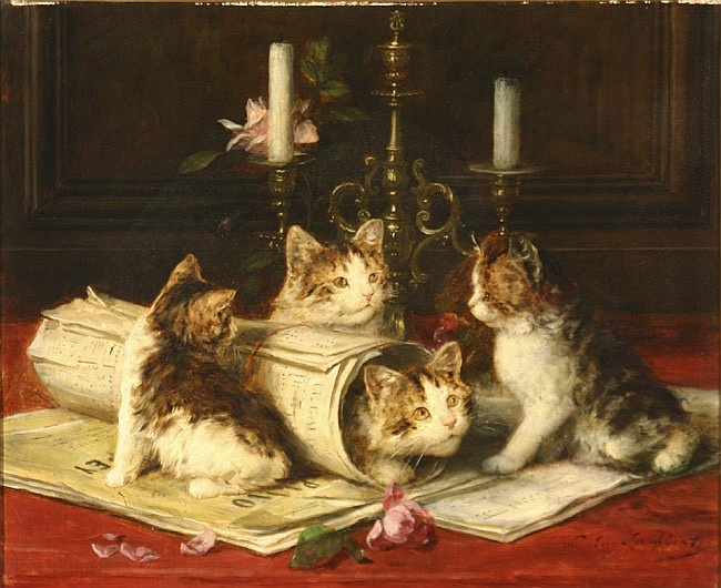 Louis Eugène Lambert (French 1825-1900) Kittens at Play