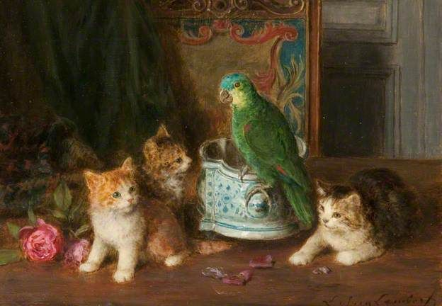 Kittens and Parrots, Louis Eugene Lambert
