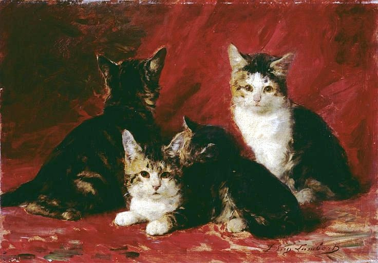 Quatre petits chats près d'un rideau rouge/ Four Kittens in front of a Red Curtain, Louis Eugene Lambert