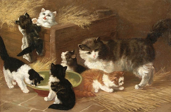LOUIS LAMBERT (French 1825-1900) Playful Kittens