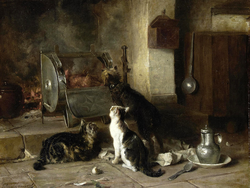 Waiting for Dinner, Louis Eugene Lambert, cats in art