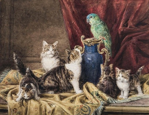 Cats and Parrot, Louis Eugene Lambert