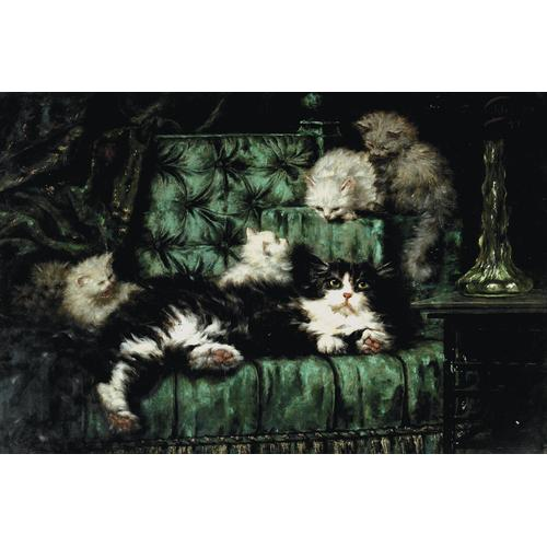 Carl Kahler, Cats on a Sofa