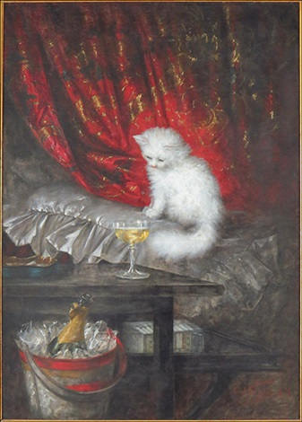 Carl Kahler, Die Weisse, The White Cat, cat art