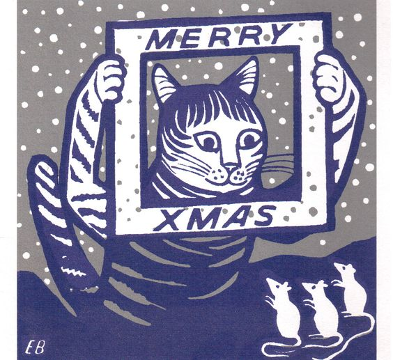 Cat Merry Christmas Illustration, Edward Bawden