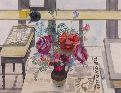 Cat, Flowers and The Guardian, Edward Bawden