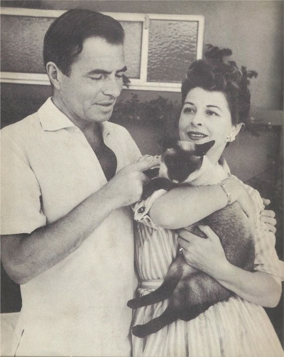 James Mason and his wife with cat