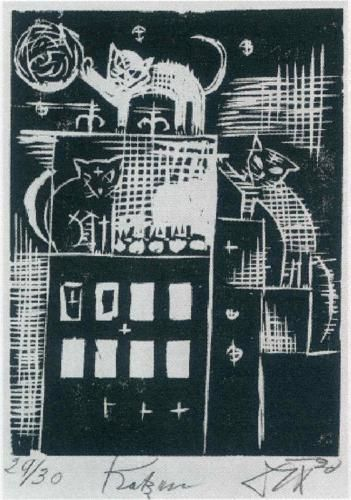 Cats - Otto Dix - 1920, Woodcut.