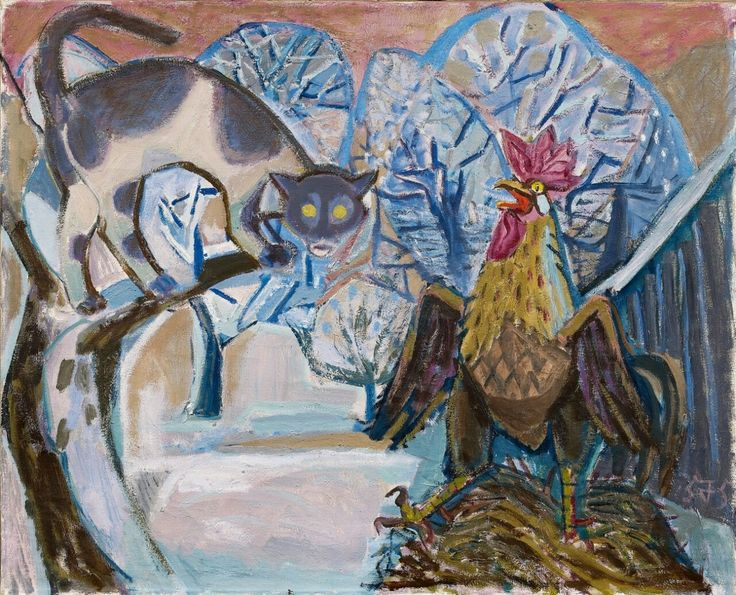 Cat and Cock II, Otto Dix, 1957