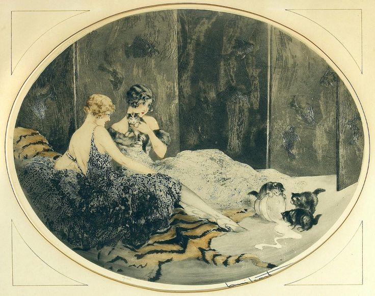Femmes et Chatons (Cat ladies), Louis Icart 1925, Spilled Milk