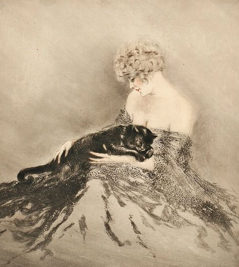 Louis Icart - Fanny and Cat. 1926