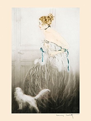 Woman and White Persian Cat, Louis Icart