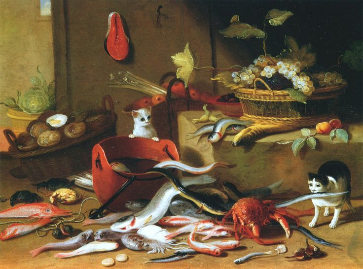 Two Cats Playing with Fish, Jan van Kessel, the Elder