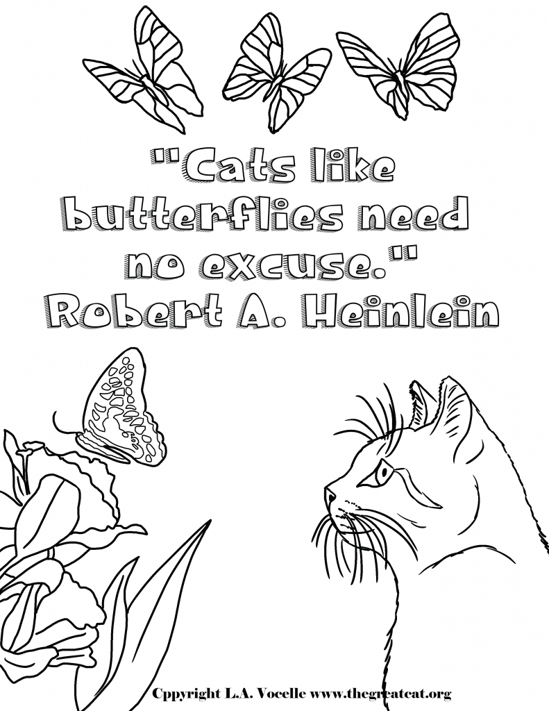 11-Cats and Butterflies-copyright L.A. Vocelle, free coloring pages, cat coloring, cats