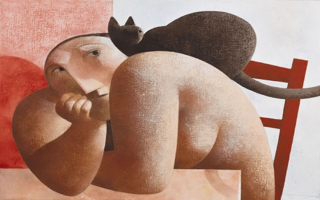 Woman with Cat on her Back, Peter Harskamp