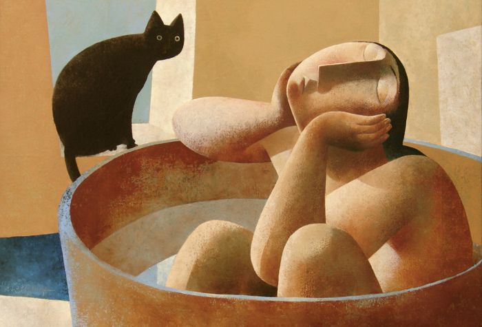 Taking a Bath with Cat Looking On, Peter Harskamp