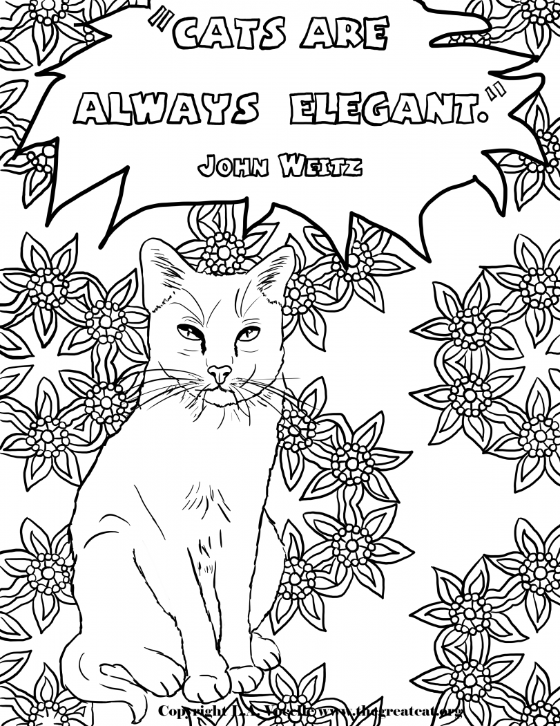 cats are always elegant copyright la vocelle free coloring pages cat coloring books - Free Coloring Books
