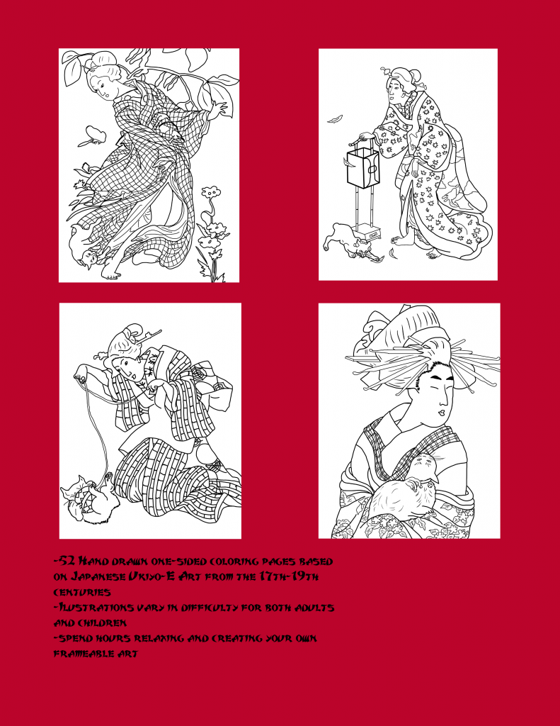 Cats and Geishas Coloring Book, coloring pages