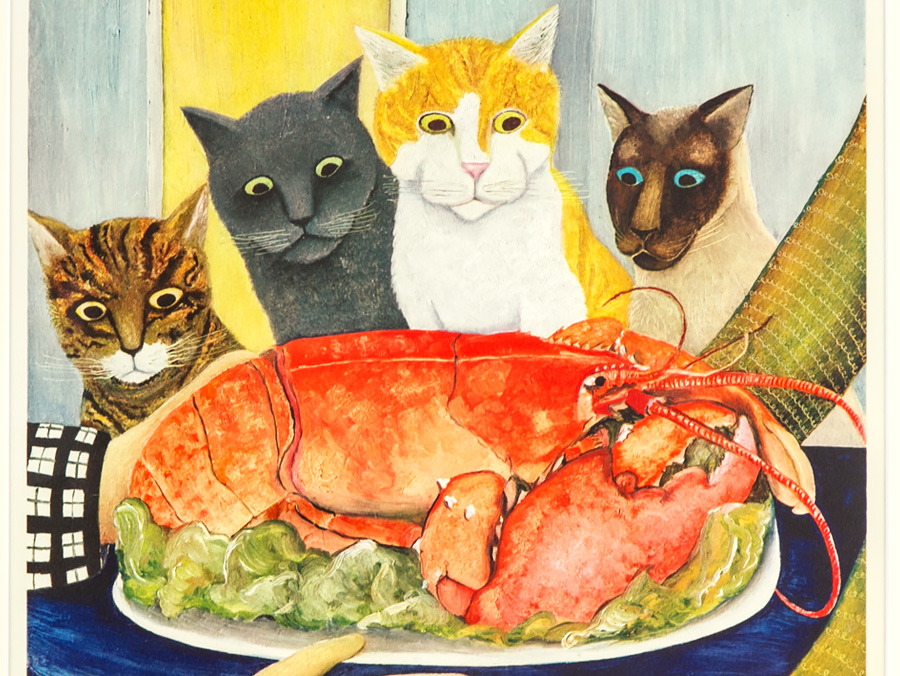 Beryl Cook, Cats Eyeing a Lobster, 1977