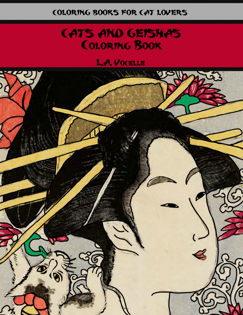 Cats and Geishas Coloring Book, coloring pages, adult coloring