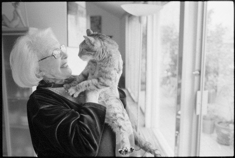 French actress Micheline Presle with Cat, 2010, Martine Franck