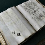 Middle Ages Manuscript with cat paw prints, cats in middle ages art