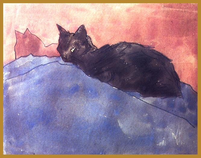 Black Cat on Blue and Pink Gwen John 1910-20 Watercolor