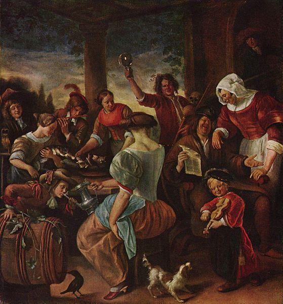 Katzen Familie Jan Steen (1629-1679) Magyar Szepmuveszeti Muzeum baroque cats in art
