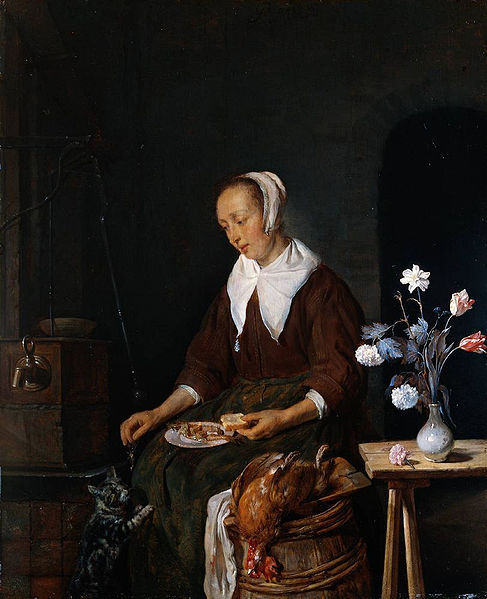 Woman Feeding a Cat Gabriel Metsu 1662-1665 Rijksmuseum, Amsterdam, cats in art