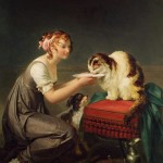 Le Déjeuner du Chat (The Cat's Lunch) Marguerite Gérard Oil on Canvas Musee Fragonard, Grasse, France