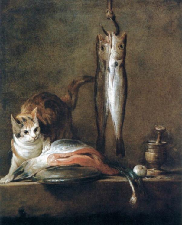 Still Life with Cat and Fish Jean Baptiste Simeon Chardin Museo Thyssen-Bornemisza, Madrid
